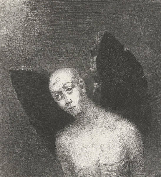 Satan Drawing - The Fallen Angel by Odilon Redon