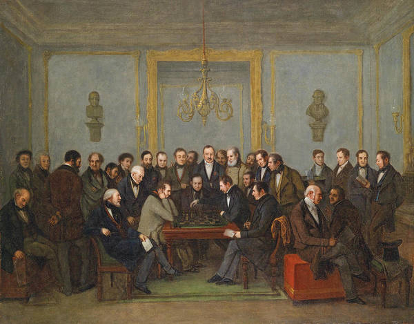 Wall Art - Painting - The Famous Chess Match Between Howard Staunton And Pierre Charles Fournier De Saint-amant by Jean-Henri Marlet