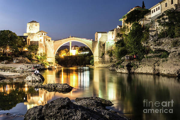 Photograph - The Famous Mostar Bridge At Night by Didier Marti