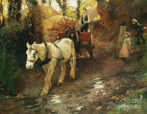 Reins Painting - The Farm Gate by Harold Harvey