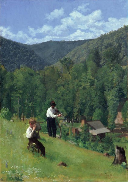 Stump Painting - The Farmer And His Son At Harvesting by Thomas Pollock Anschutz