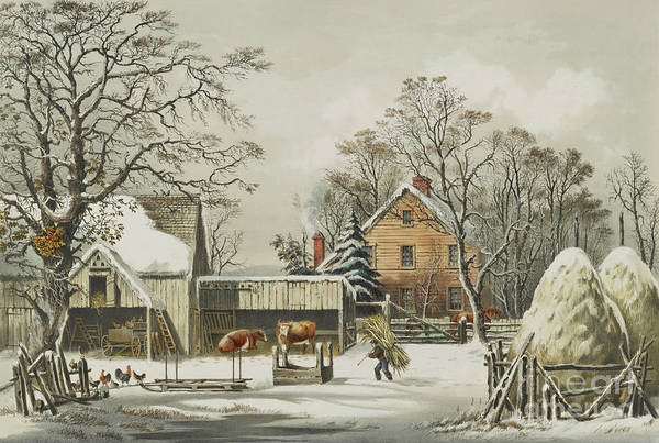 Farmstead Painting - The Farmers Home  Winter, 1863 by Currier and Ives