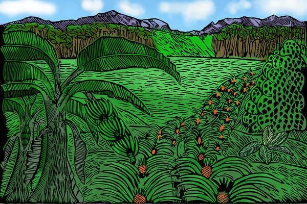 Linoleum Mixed Media - The Farmland by Marlon Vassell