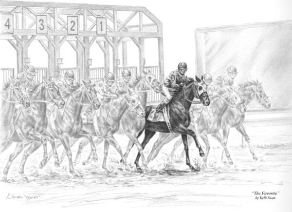 Equestrian Drawing - The Favorite - Horse Racing Art Print by Kelli Swan