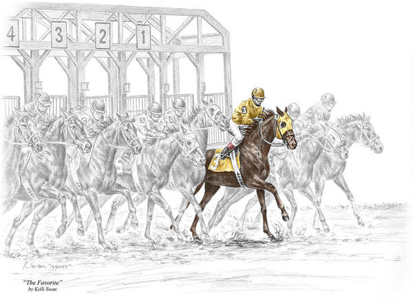 Equine Drawing - The Favorite - Thoroughbred Race Print Color Tinted by Kelli Swan