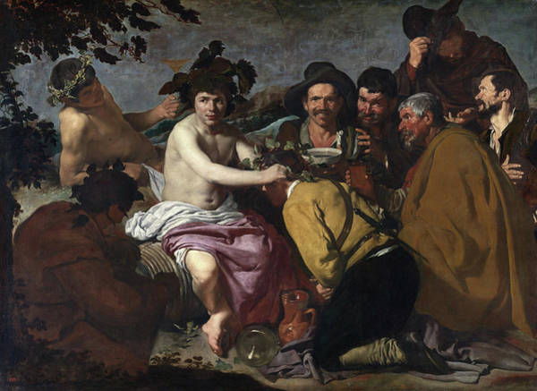 Spanish Wine Painting - The Feast Of Bacchus by Diego Velazquez
