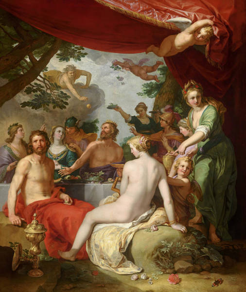 Feast Painting - The Feast Of The Gods At The Wedding Of Peleus And Thetis by Abraham Bloemaert