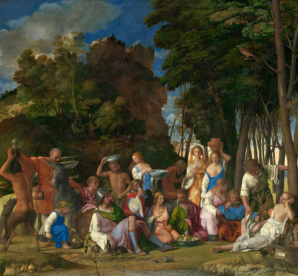 Titian Painting - The Feast Of The Gods  by Titian