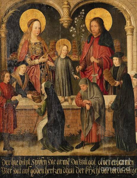 Circa Painting - The Feeding Of The Hungry With The Holy Family by Celestial Images