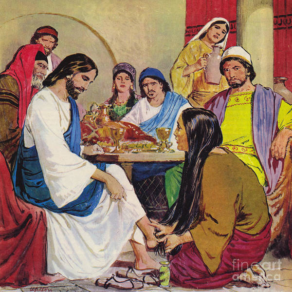 Wall Art - Painting - The Feet Of Jesus Anointed In The House Of A Pharisee By A Woman Of Faith by Clive Uptton
