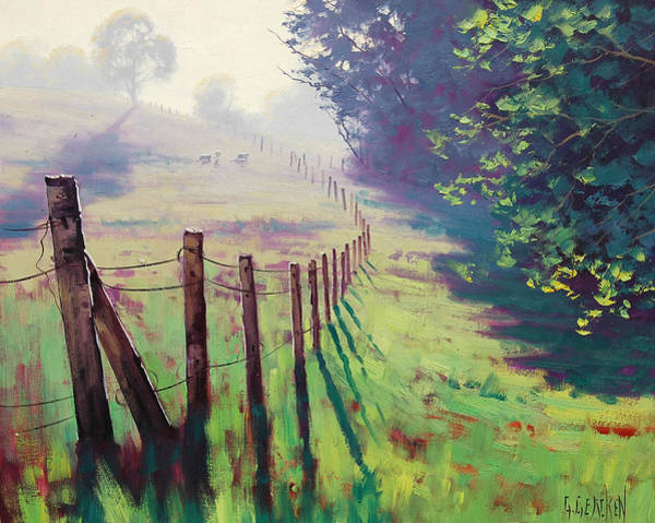 Foggy Wall Art - Painting - The Fence Line by Graham Gercken