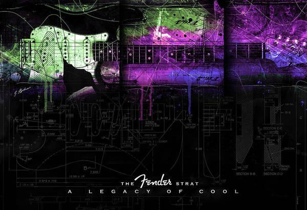 Wall Art - Digital Art - The Fender Strat A Legacy Of Cool by Gary Bodnar