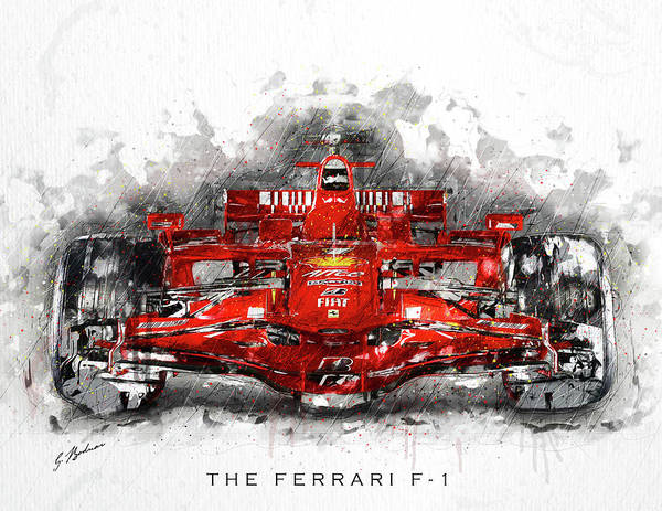 Wall Art - Digital Art - The Ferrari F1 Titled by Gary Bodnar
