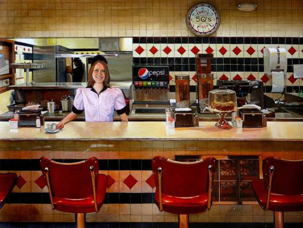 Waitress Wall Art - Painting - The Fifties Diner by Doug Strickland