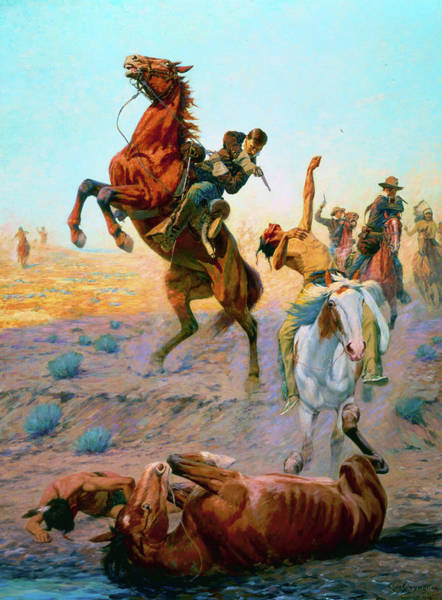 Artifact Painting - The Fight For Water by Charles Schreyvogel