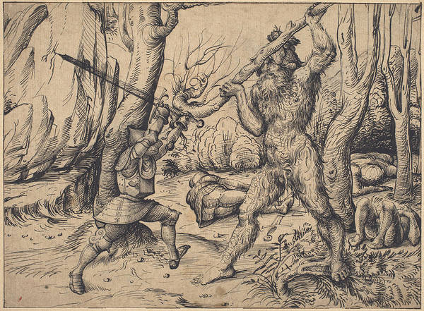 Wall Art - Drawing - The Fight In The Forest by Hans Burgkmair I