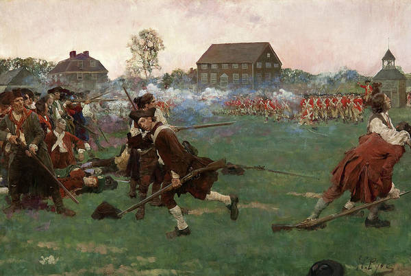 Howard Painting - The Fight On Lexington Common, April 19, 1775 by Howard Pyle