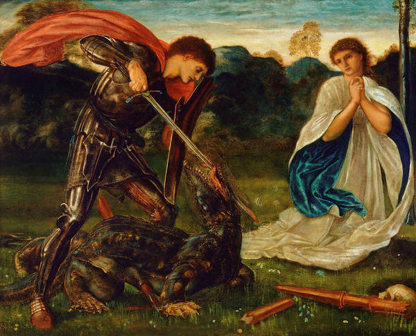 Pre-raphaelite Brotherhood Painting - The Fight St George Kills The Dragon Vi by Sir Edward Coley Burne-Jones