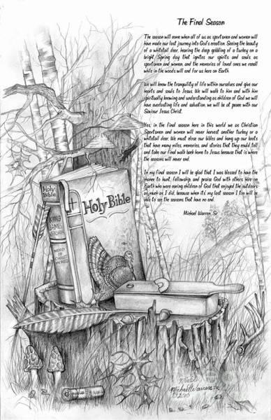 Whitetail Drawing - The Final Season by Michael Warren