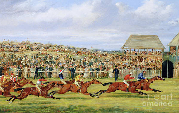The Blue Rider Wall Art - Painting - The Finish Of The 1862 Derby, 1862 by Samuel Henry Alken