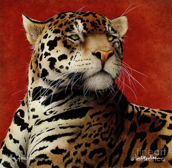 Big Cat Wall Art - Painting - The Fire Cat... by Will Bullas