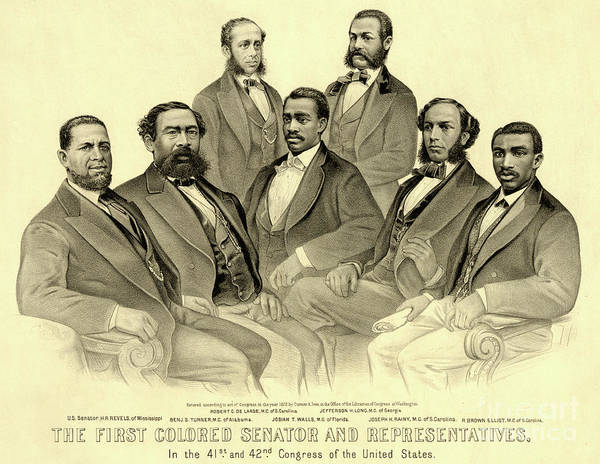 Wall Art - Drawing - The First African American Senator And Representatives by American School
