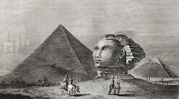 Memphis Design Wall Art - Drawing - The First And Second Pyramid Of Gizah by Vintage Design Pics