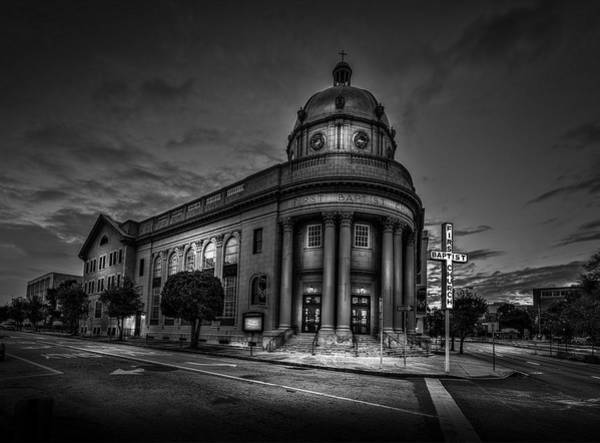 First Photograph - The First Baptist Church Of Tampa Bw by Marvin Spates