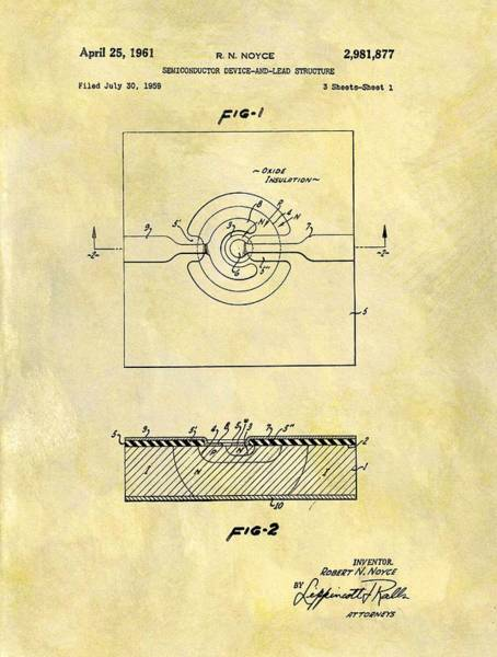 Wall Art - Drawing - The First Computer Chip Patent by Dan Sproul