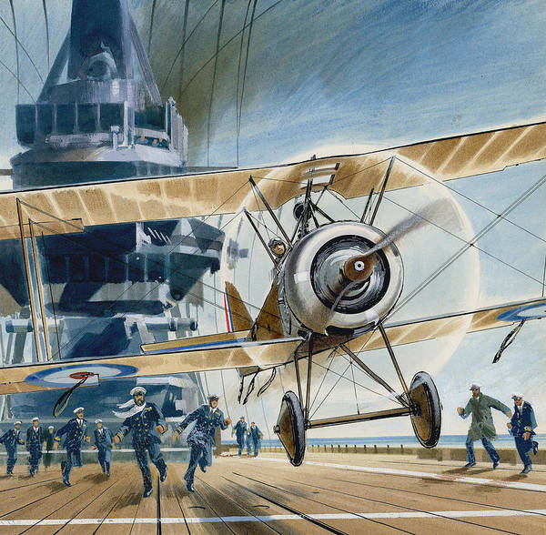 Flight Deck Painting - The First Deck Landing by Wilf Hardy