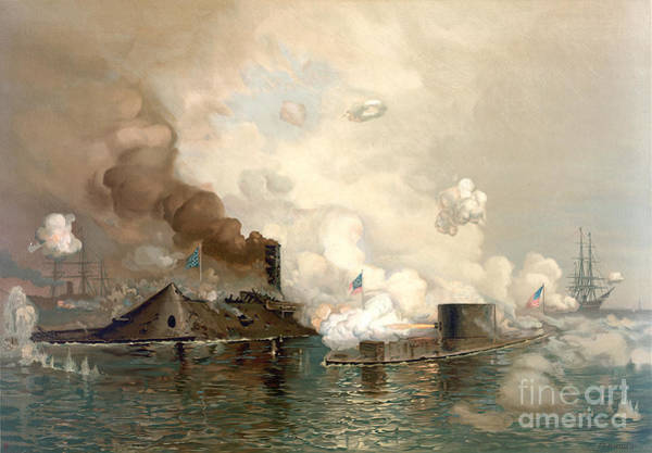 Painting - The First Fight Between Ironclads by Celestial Images