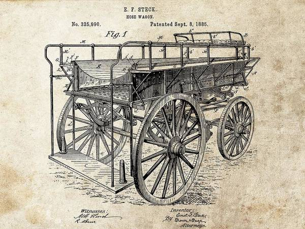 Wall Art - Drawing - The First Fire Wagon by Dan Sproul