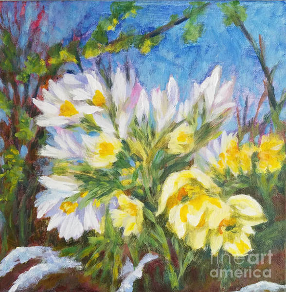 Snowdrop Painting - The First Flowers After Winter by Olga Malamud-Pavlovich