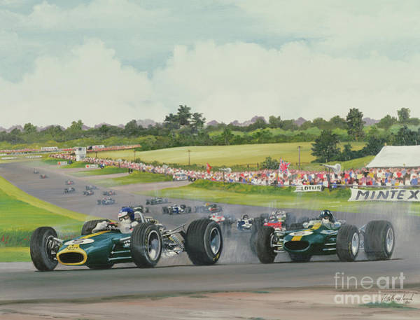 Wall Art - Painting - The First Lap - 1967, British Grand Prix At Silverstone by Richard Wheatland
