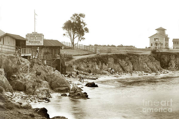 Photograph - The First Look-out And Early Bath House At Lovers Point 1895 by California Views Archives Mr Pat Hathaway Archives