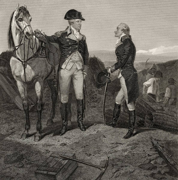 Equestrian Drawing - The First Meeting Of George Washington And Alexander Hamilton by Alonzo Chappel
