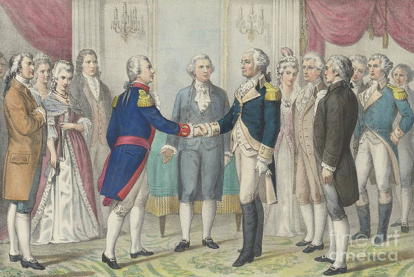 Wall Art - Painting - The First Meeting Of Washington And Lafayette In Philadelphia, August 3rd 1777 by Currier and Ives