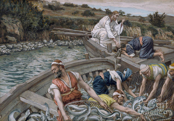 Kneeling Painting - The First Miraculous Draught Of Fish by Tissot