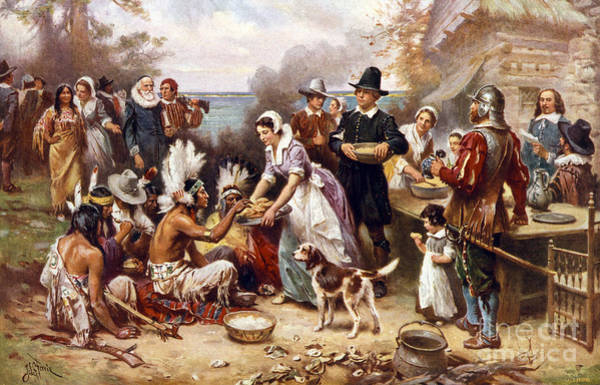 Settlers Painting - The First Thanksgiving by American School