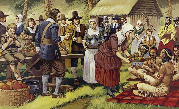 Settlers Painting - The First Thanksgiving  by Mike White