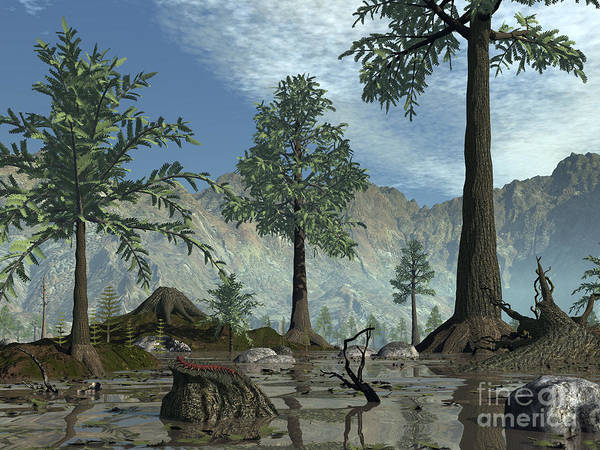 Paleobotany Digital Art - The First Trees Begin To Populate Earth by Walter Myers