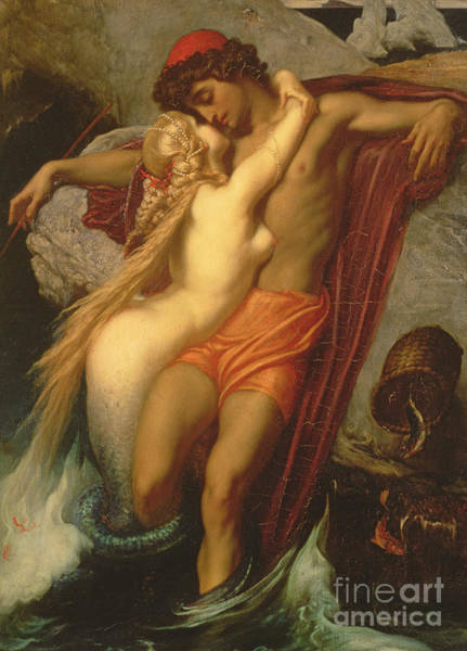 Siren Wall Art - Painting - The Fisherman And The Siren by Frederic Leighton