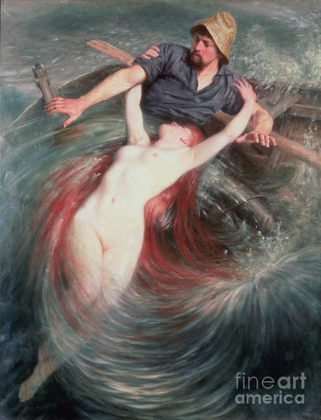 Angler Wall Art - Painting - The Fisherman And The Siren by Knut Ekvall
