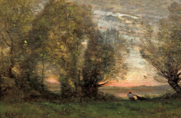 Painting - The Fisherman - Evening Effect by Jean-Baptiste-Camille Corot