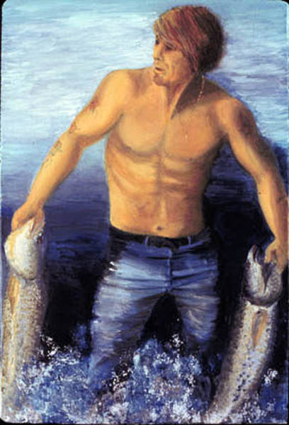 Ione Painting - The Fisherman by Ione Citrin