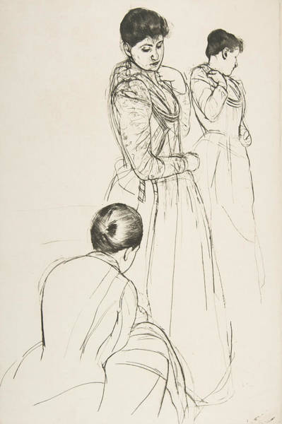 Relief - The Fitting, 1890-1891 by Mary Cassatt
