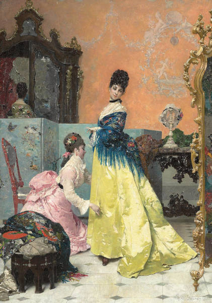 Lady In Waiting Painting - The Fitting by Alfred Emile Stevens