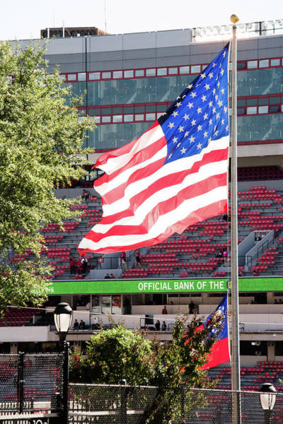 Photograph - The Flag Flying High Over Sanford Stadium by Parker Cunningham