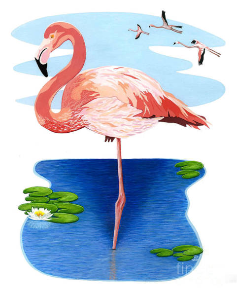 Wall Art - Painting - The Flamingo by Richard Kennemer