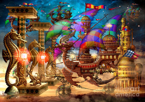 Space Ship Digital Art - The Fleet Has Arrived by MGL Meiklejohn Graphics Licensing